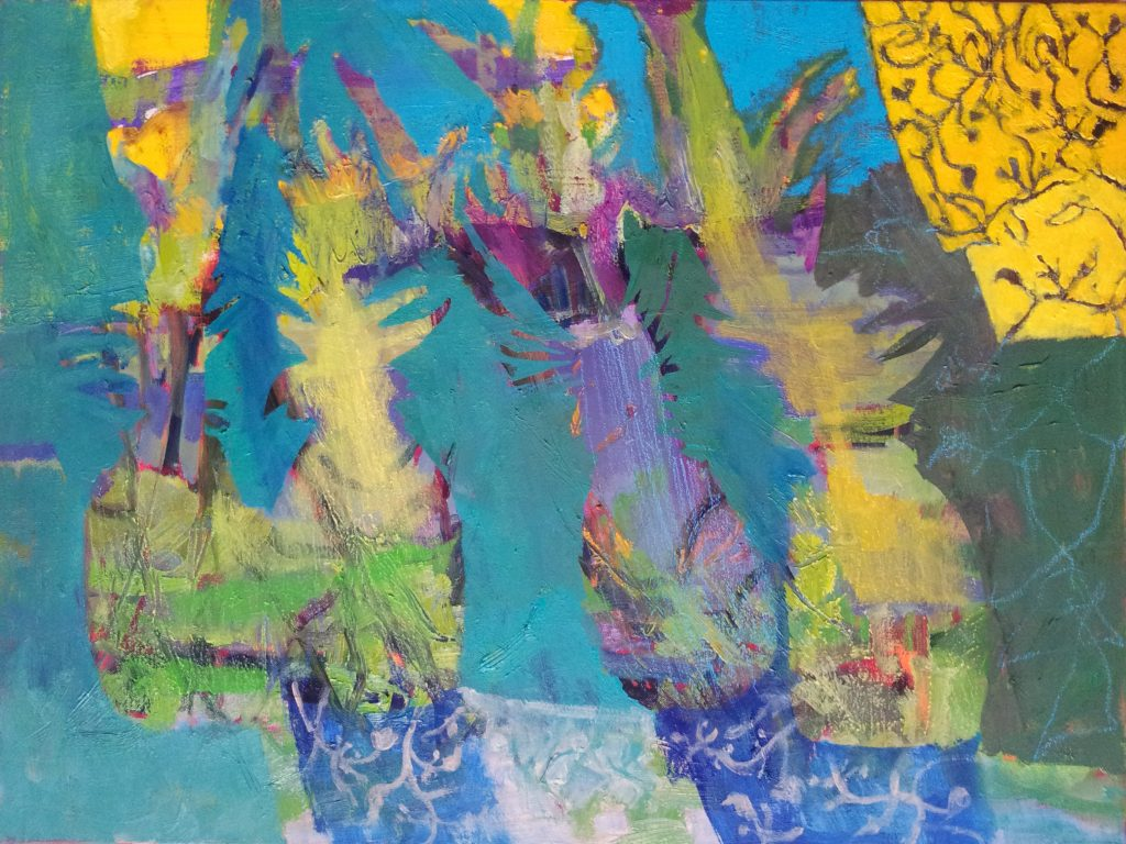 Keliaujantys ananasai, 2015, drobė, aliejus, 50x65 cm.