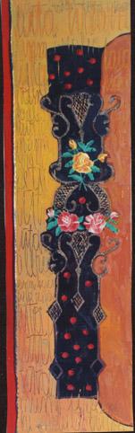 Laiškai į praeitį V, 2002, sena siuvinėta drobė, aliejus, 134x39,5 cm.