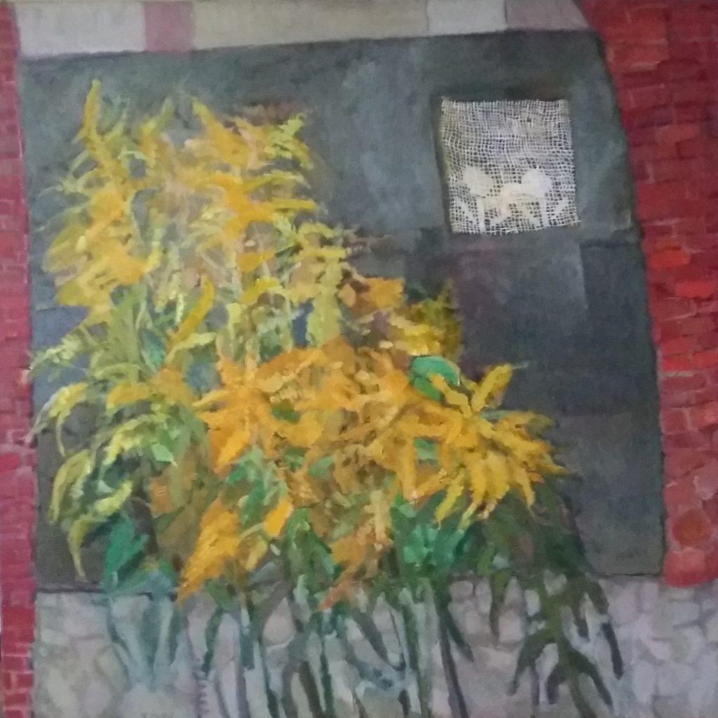 Lazdynėlių rykštenės, 2012, drobė, aliejus, 100x100 cm.
