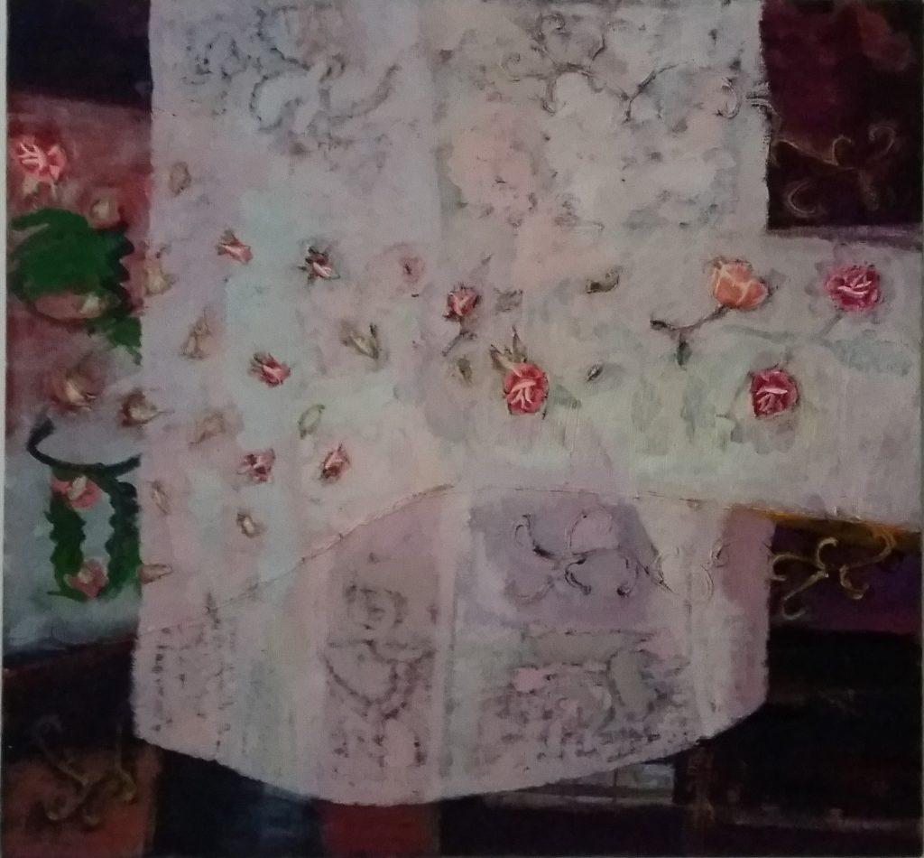 Paberžės arnotai 2017, drobė, aliejus, koliažas, 104x110 cm.