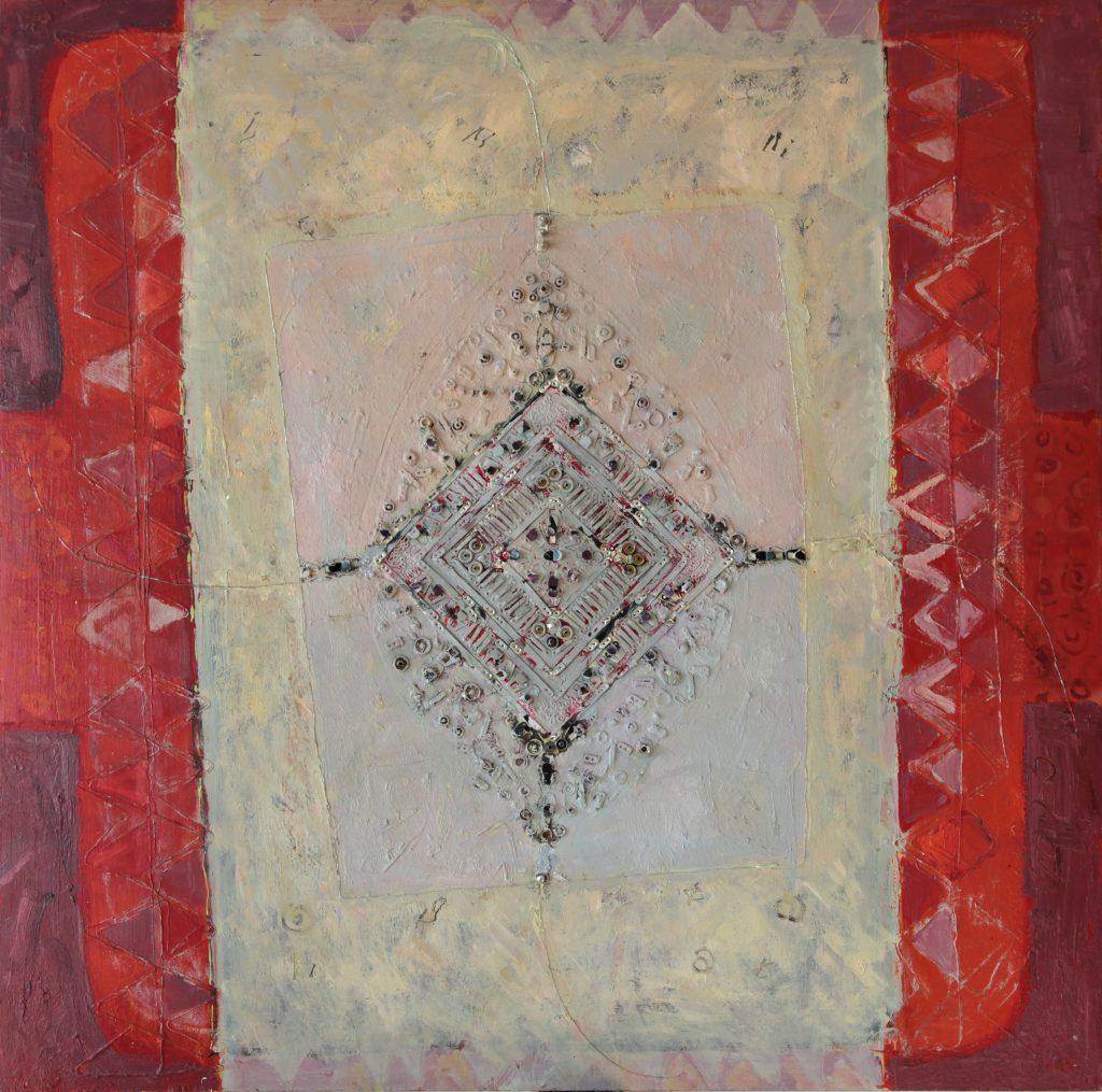 Ženklas II, 2005, fanera, aliejus, koliažas, 110x110 cm.