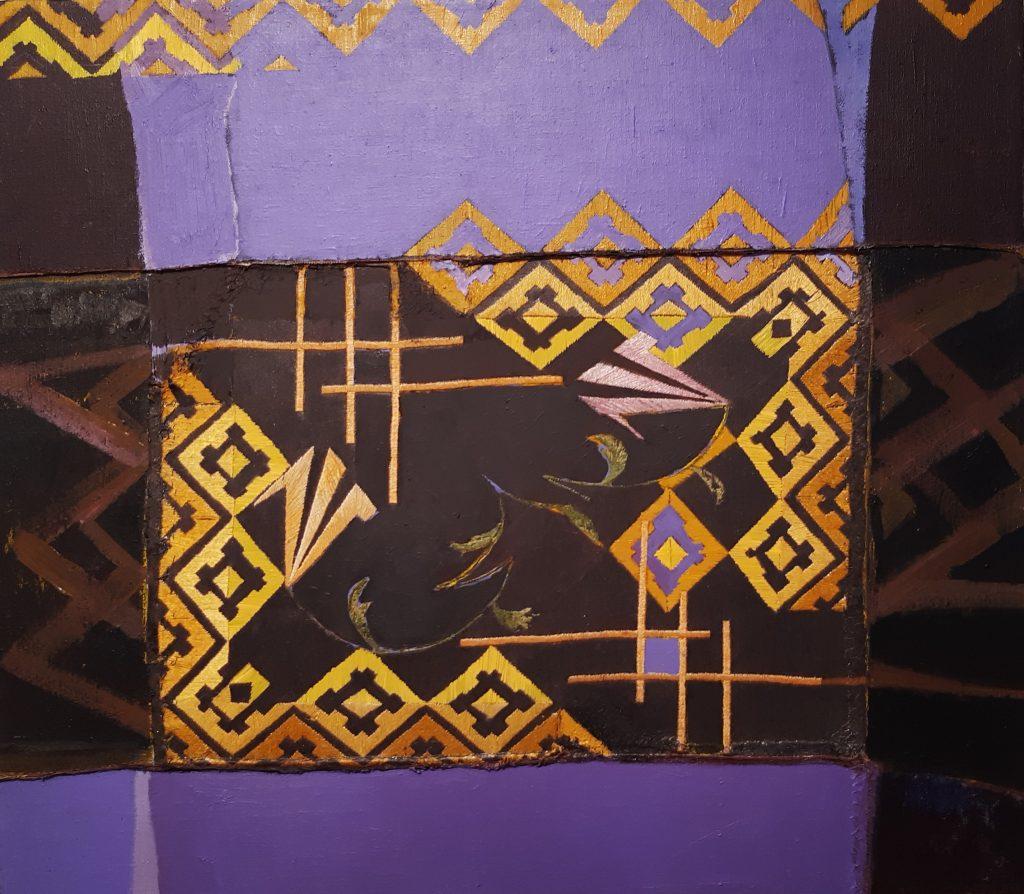 Žilvinas, 2020, sena siuvinėta drobė, aliejus, 74x83 cm.